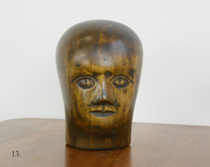 German Carved Wooden Milliners Head Circa 1910