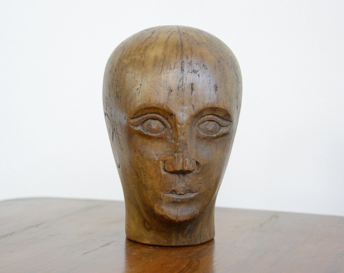 German Carved Wooden Milliners Head Circa 1910