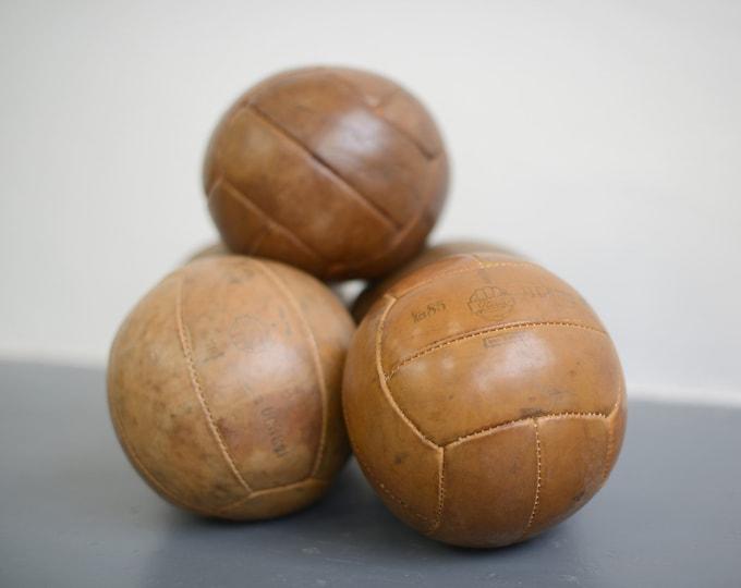 Small Leather Medicine Balls Circa 1950s