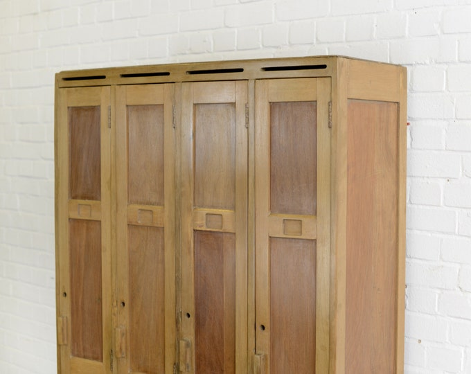 English Wooden Lockers Circa 1950s