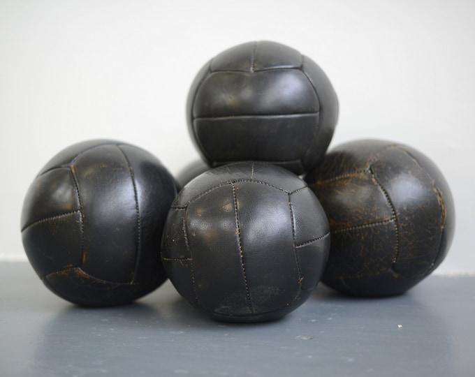 Black Leather Medicine Balls Circa 1950s