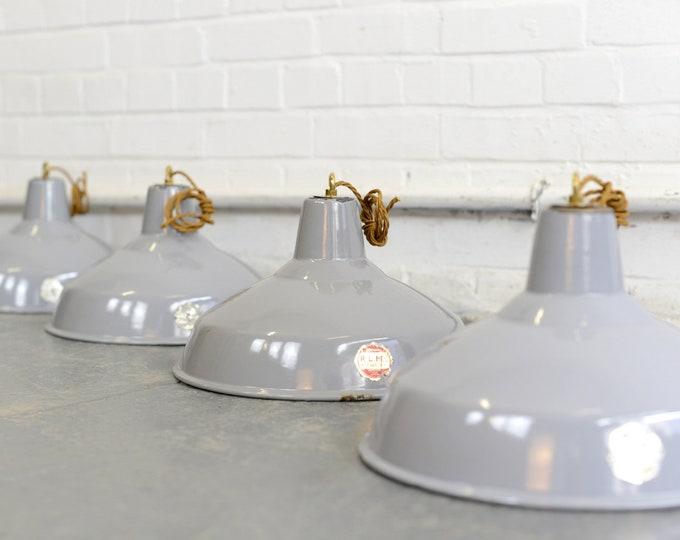 Grey Enamel Factory Lights By Benjamin Circa 1950s