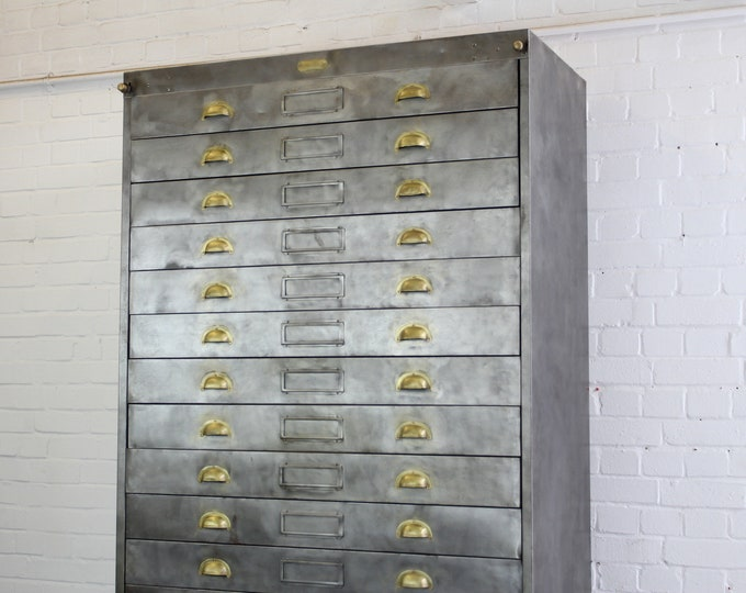 Large Steel Industrial Factory Drawers Circa 1930s