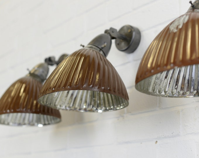 Coffee Coloured Wall Mounted Mercury Lights Circa 1930s
