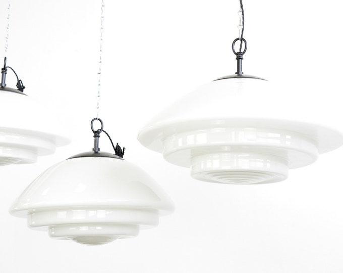 Large Bauhaus Pendant Lights By Mithras Circa 1930s