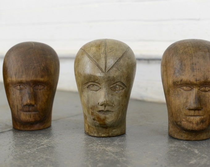 Early 20th Century Carved Milliners Heads 1900