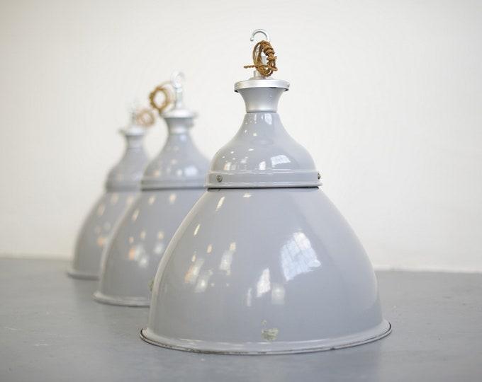 Large Grey Enamel Benjamin Factory Lights Circa 1950s