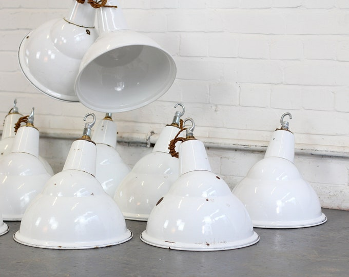 White Parabolic Factory Lights By Benjamin Circa 1950s