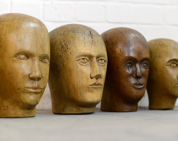 Early 20th Century Carved Milliners Heads 1910