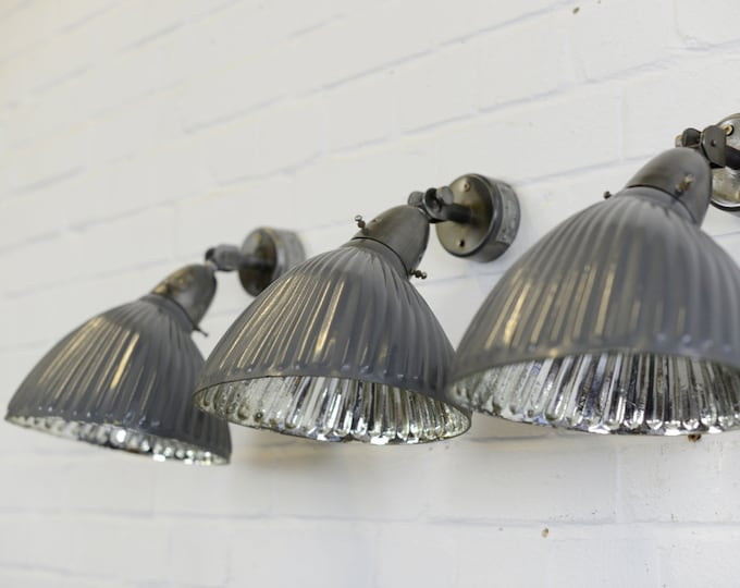 Dark Grey Mercury Glass Wall Lights Circa 1930s