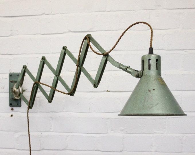 Wall Mounted Industrial Scissor Lamp Circa 1960's