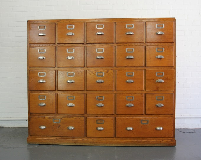Large Bank Of French Art Deco Filing Drawers Circa 1930s