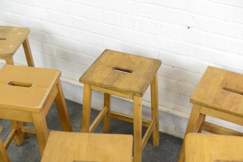 Mid Century Beech School Lab Stools Circa 1960s