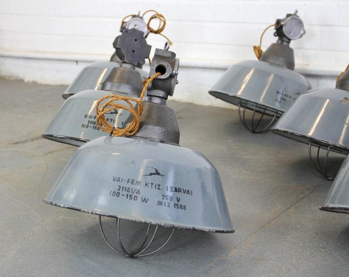 Hungarian Industrial Factory Lights By Szarvas Circa 1940s