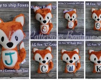 Personalized Fox, Fox soft stuffed animal, Fox stuffie, monogrammed stuffed animal,