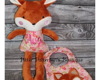 Personalized Fox, Baby gift, Birthday gift, Woodland animals