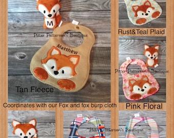 Personalized Fox baby bib, peeping fox bib, baby bib