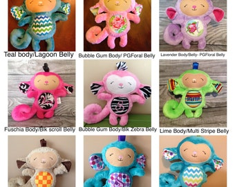 Personalized Plush monkey, Personalized child friendly monkey, Personalized stuffed animal