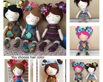 Personalized cloth doll, CIRCLES Doll baby, Mia Cloth Doll, baby doll, child friendly doll