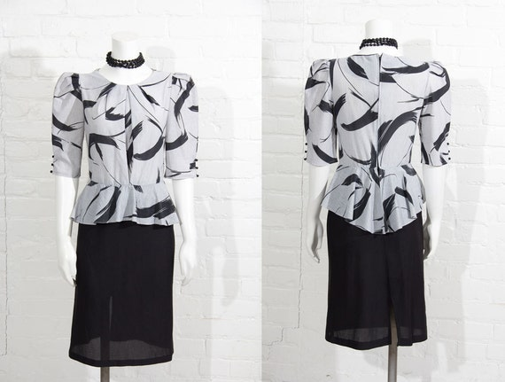 Mint Vintage Womens grey black graphic print 1980'