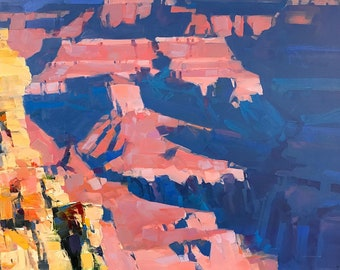 Grand Canyon, Landscape Original oil painting, Handmade artwork, large size painting, one of a kind