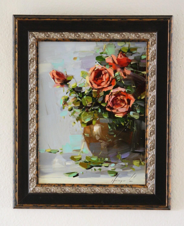 Vase mit Rosen Ölgemälde Blumen gerahmt Original Malerei | Etsy