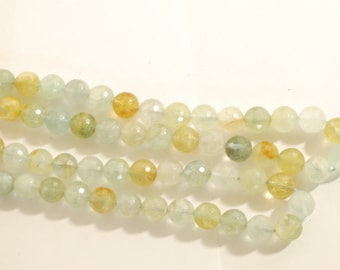 Faceted Aquamarine Beads 10mm 15""