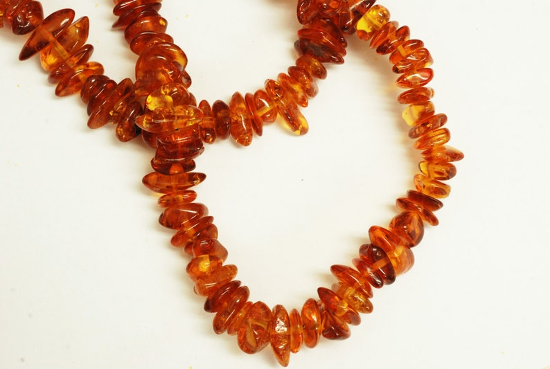 38inches 75gr Genuine Side Drilled Amber Chip shape 6x12mm