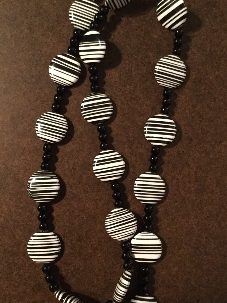 Zebra Beads Necklace Sets: Necklace and Earring Sets Black and White Jewelry Dangle Earrings Toggle Clasp