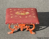 Vintage French Country Footstool w Red Tapestry Red Cast Iron Base