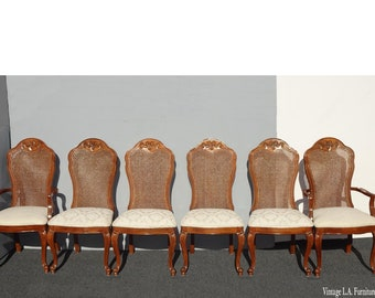 Set of Six French Country Thomasville Cane Back White Dining Room Chairs