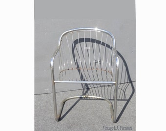 2f17c609ccf5 Vintage Designer Cantilever Tubular Chrome Chair with Wire Seat Back