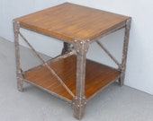 Modern Industrial Style Ashley End Table Side Table made of Wood Metal