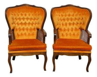 Pair of Vintage French Provincial Mid Century Tufted Orange Wing Back Armed Cane Chairs  sc 1 st  Etsy & French cane chair | Etsy