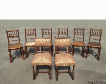 7c2cb821ebde Set Eight Antique Vintage Ornate Spanish Style Dining Room Chairs w Cane  Seats