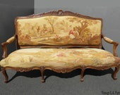 Antique French Louis XV Walnut Country Setting Gold Tapestry Settee Canape