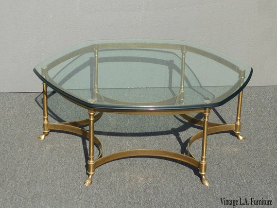 Vintage Labarge Style Hexagon Brass Coffee Table W Hoof Foot Etsy