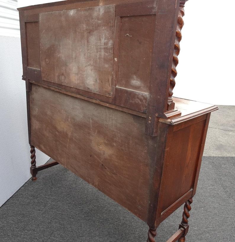 Antique Barley Twist Oak Wood Sideboard Buffet With Mirror Backsplash
