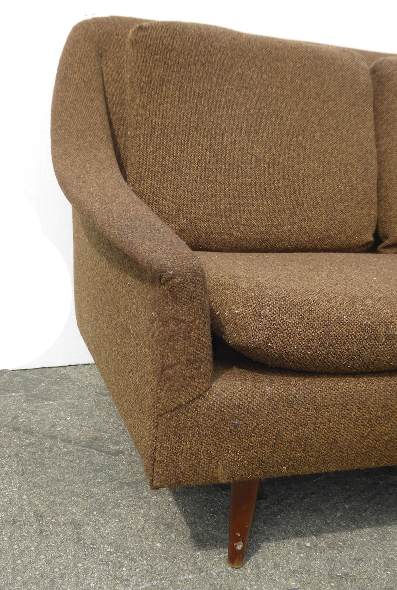 Vintage Mid Century Modern Brown Sofa and Chair Folke Ohlsson for DUX Style