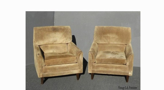 Groovy Pair Vintage Marge Carson Mid Century Modern Tan Sage Green Suede Accent Chairs As Is Gmtry Best Dining Table And Chair Ideas Images Gmtryco
