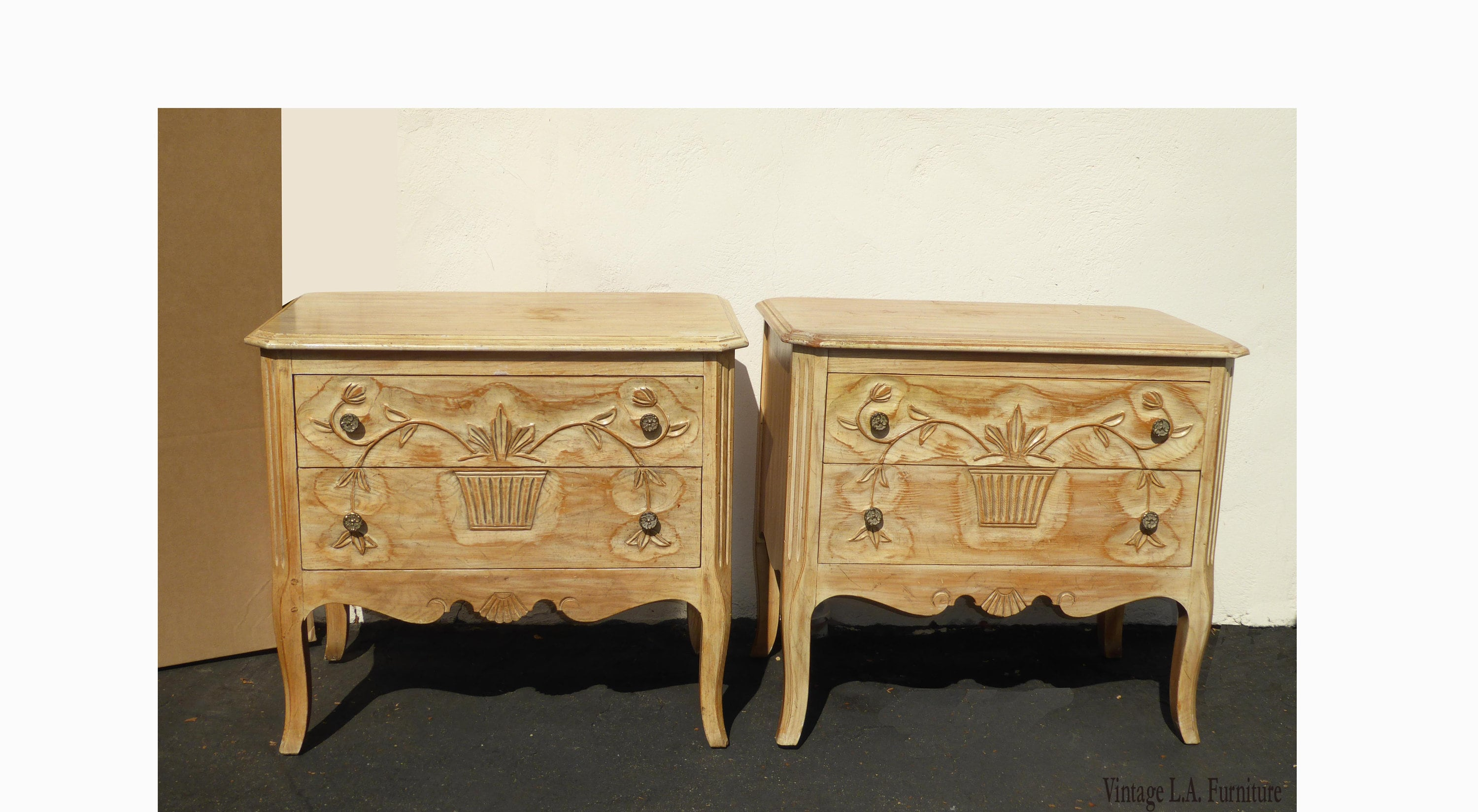release date 649b4 59911 Pair Vintage French Country Nightstands w White Wash by ...