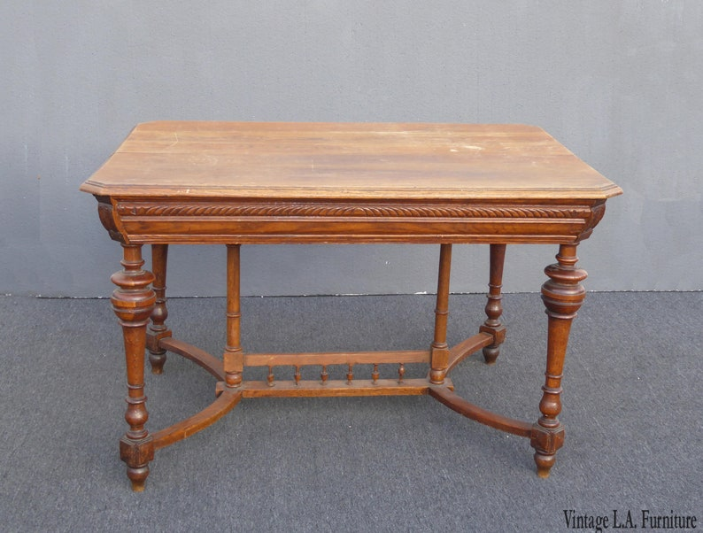 Antique Spanish Style Library Table Desk W Stretcher Mission Style