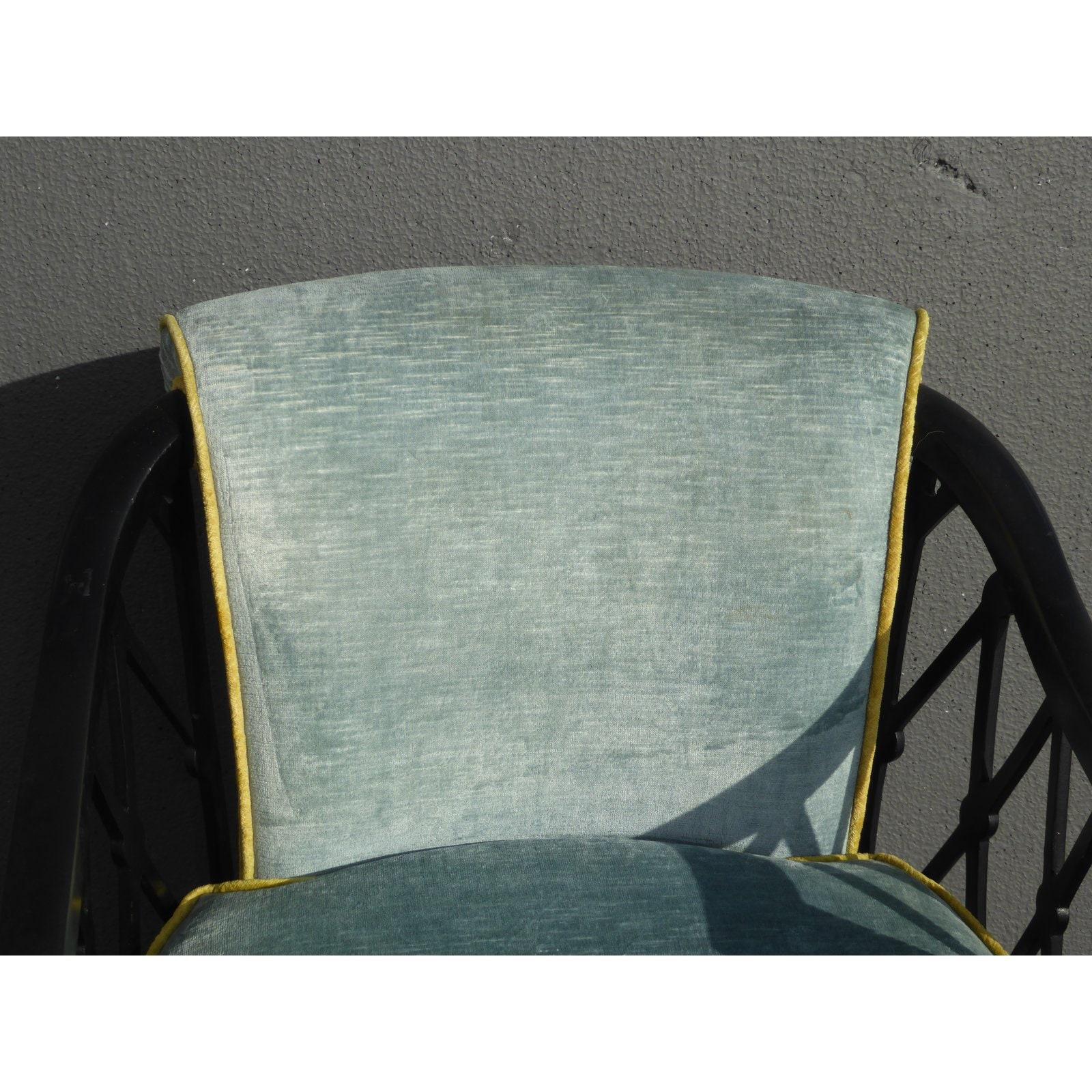 vintage black gold hollywood regency accent chair with blue velvet upholstery. Black Bedroom Furniture Sets. Home Design Ideas
