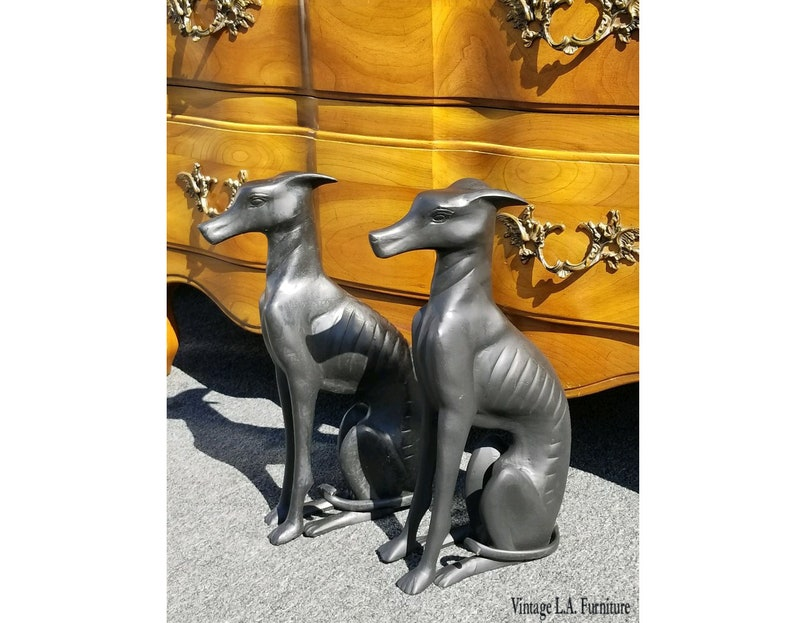 Greyhound Shipping Quote >> Pair Bronze Vintage Black Greyhound Dog Statues Collectible Sculpture Figurines