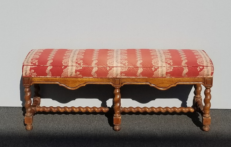 Vintage French Country Red Barley Twist Bench