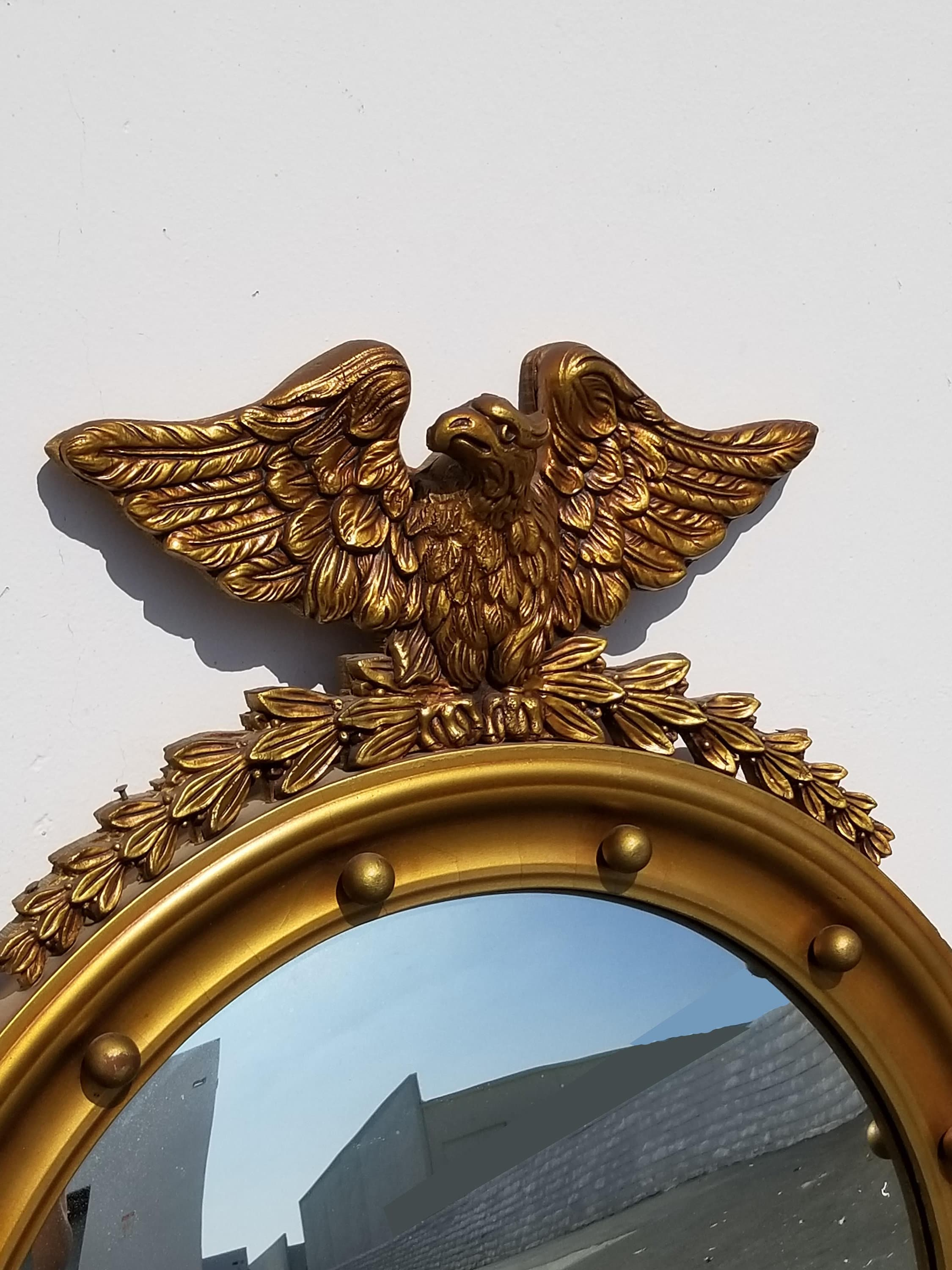 Vintage Federal Gold Eagle Convex Wall Mantle Mirror 13