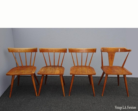 Four Vintage Mid Century Paul Mccobb Planner Group Chairs W Spindle Backrests