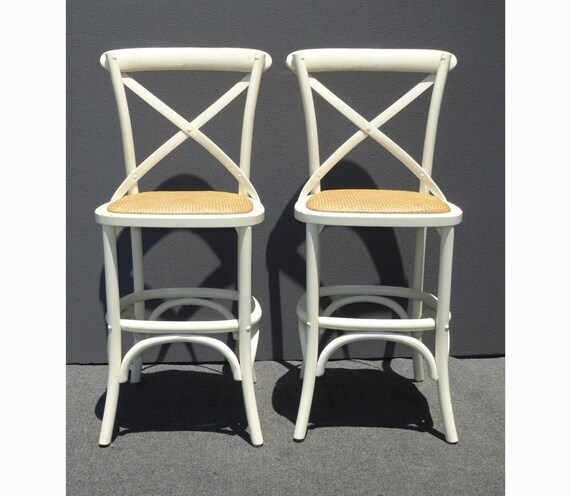 Awe Inspiring Pair Two Vintage French Country Style White Rye Seats Bar Stools Machost Co Dining Chair Design Ideas Machostcouk