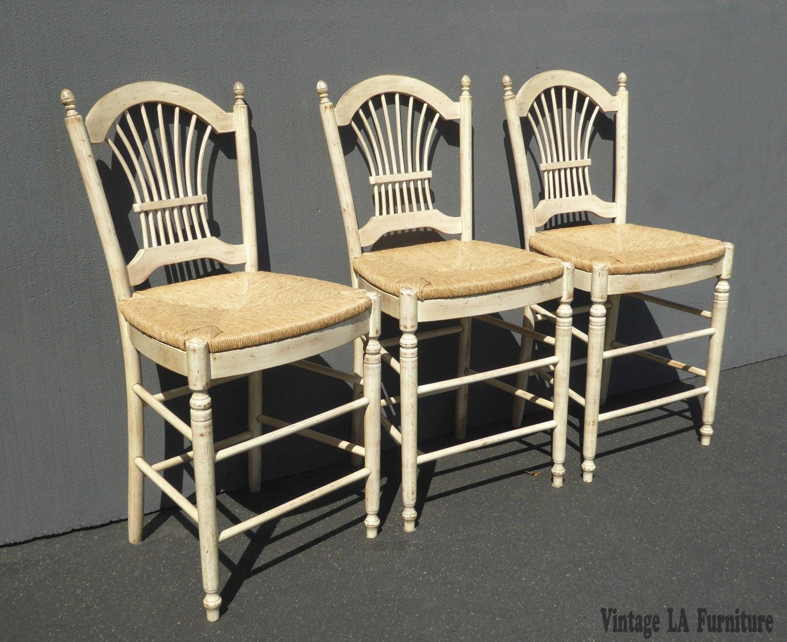Set Of Three French Country Rye Seat Barstools Off White