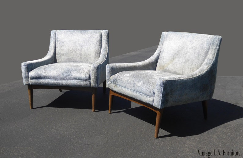 Magnificent Pair Of Vintage Mid Century Modern Baby Blue Accent Chairs Milo Baughman Style Best Image Libraries Counlowcountryjoecom